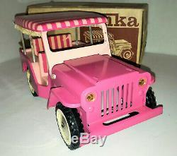 Vintage Pressed Steel 1963 Tonka Pink Elivs Jeep Surrey #350 with Original Box
