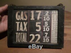 Visible gas pump price box sign original 1920s-30s gas pump
