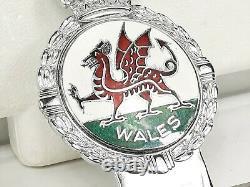 1950-60s Vintage J. R. Gaunt Wales Enamel Car Badge Original Presentation Box
