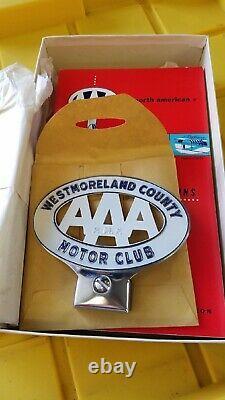 1956 Nos Westmoreland County Pa Aaa Motor Club Trunk LID Emblem Original Box
