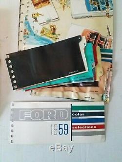 1959 Ford Album Showroom Concessionnaire Salesman Couleur & Rembourrage Originale W Box