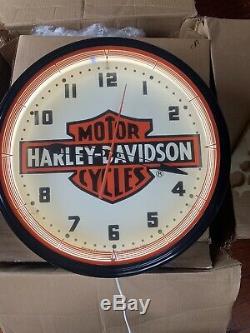 1991 Harley Davidson Originale Dealer Neon Clock! N. O. S Dans La Boîte Originale