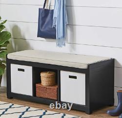 3-cube Entryway Storage Bench Wood Cushion Meubles Assis Rembourré Noir