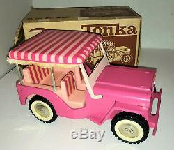 Acier Embouti Vintage 1963 Tonka Rose Elivs Jeep Surrey # 350 Avec La Boîte Originale