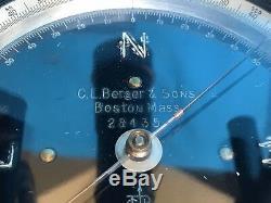 Antique Berger & Sons 1943 Arpentage Transit Boston Mass USA Original Bois Box