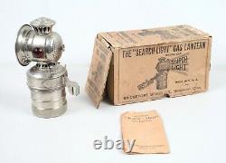 Antique Bridgeport Brass Co. Search Light Bicycle Gas Lantern Avec Boîte Originale