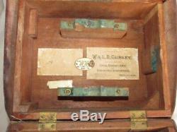 Antique Gurley Transit Et Trépied Original En Cuir / Boîte En Bois No 100 Usr
