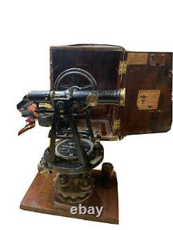 Antique Warren Knight Precision Transit. Boîte Originale Et Trépied