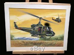 Bell Huey Chopper Uh-1b Modèle Original Box Top Art Studio Peinture Impressionnant