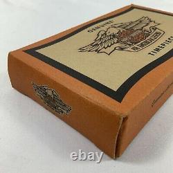 Bulova Harley Davidson Swiss Pocket Watch 99621-94v Pochette En Cuir Boîte Originale