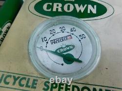 Crown Stewart Warner 50 Mph Vélo Speedomètre (moins De 1 Mile) Boîte D'origine