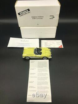 Danbury Mint 1958 Corvette Jaune 1/24 Modèle D'échelle Avec Boîte Originale/all Paperwork