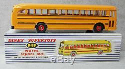 Dinky Toys 949 École Wayne Bus Rare Noir Lines Near Mint Boxed