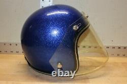 Flocon Bleu En Métal Bleu De Casque De Moto De Scm De Cru Avec Le Bouclier Facial Et La Boîte Originale