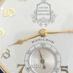 Hamilton Packard 10 Ans De Solid Gold Montre De Poche Avec La Boîte Originale À Double Cas