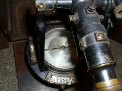 Hanna Rare Surveyor Transit Compass Withoriginal Oak Storage Box Troy, New York