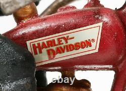 Harley Davidson Cast Iron Red Toy Motorcycle Replica Of Circa 1928 Original Box