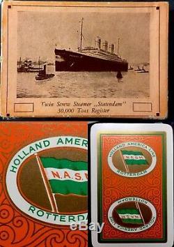 Historique Steamship Antique Poker Jeu De Cartes Pont Membre D'équipage Et Boîte D'origine