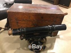 Instrument David White Vintage Transit Co. Niveau Dans La Boîte Originale Des Années 1900 Tôt