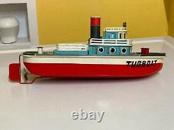 Marusan Vintage Tin Tugboat Tugboat That Puffs Out Real Smoke Withoriginal Box. Travail