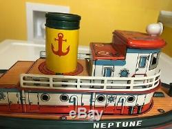 Masudaya Vintage Neptune Remorqueur. Toutes Les Actions Fonctionnent Parfaitement Avec La Boîte Originale