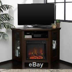 Moderne Cheminée Électrique D'angle 55 Tv En Bois Support Media Console Divertissement