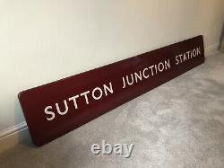 Original British Railways Midland Enamel Signe Sutton Junction Station Signal Box