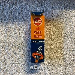Original Vintage Boîte De 10 Ac Fire Ring Spark Plugs 1950 Ou 1960 Nos