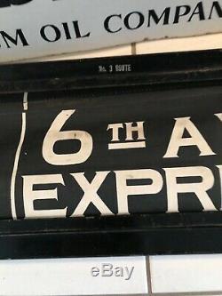 Original Vintage Nyc Subway Sign Ny 3 Route Sign & Rouleau Boîte De Collection Transit