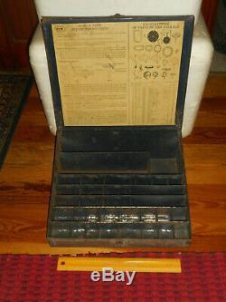 Pompe Antique United Service Ac Motors Carburant Pièces Boîte Métal 1920-1930