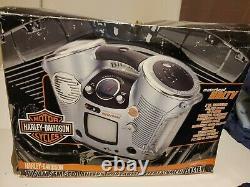 Rare Harley Davidson Boom Box Lecteur CD Tv Lanterne Modèle # 416376 Avec Boîte Originale
