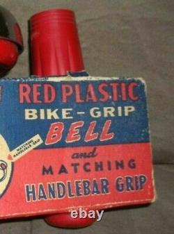 Rare Vintage 60s Nos Boîte Originale Guidon Rouge Poignées De Vélo Et Bell Collectionnable