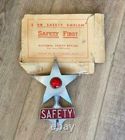 Safety Star Original Vintage Authentic License Plate Frame Topper Avec Boîte