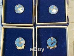 Service Vintage Original Grumman Pin Set 5, 10, 15, 20 Ans Boxed