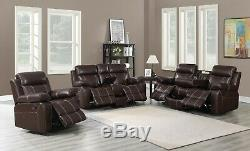 Transition 3 Pièces Reclining Mouvement Canapé Collection Causeuse & Recliner, Brown