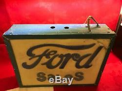 Vintage 1960 Advertising Light Box Ford Sales & Plexiglas Métal 41x31x10 CM