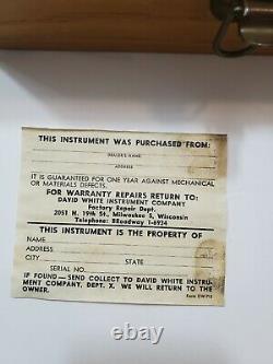 Vintage David White Instrument Co. Niveau De Transit Dans La Boîte Originale Du Début Des Années 1900