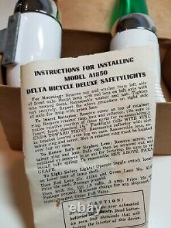 Vintage Deluxe Delta Vélo Safetylites Modèle A1850 Nos Dans La Boîte D'origine