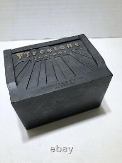 Vintage Firestone Hard Rubber Battery Cigarette Case Box Publicité Automobile