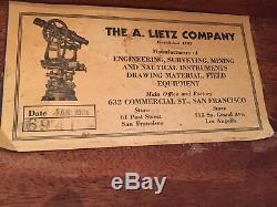 Vintage Lietz San Francisco Transit Surveyor / Niveau / Boîte D'origine Laiton Bronze