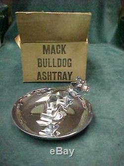 Vintage Mack Bull Dog Chrome Cigares Cendrier Camion Ornement De Capot Boîte Originale
