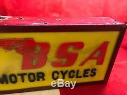 Vintage Publicité Light Box De 1960 Bsa Moto Plexiglas Et Métal 45x24x10 CM