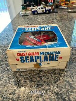 Vintage Tin Ohio Art Clockwork Coast Guard Seaplane Fully Travaillant Avec Boîte Originale