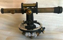 Vintage Wissler St. Louis Brass Surveying Transit Avec Boîte En Bois D'origine Fine