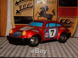 Vintage Yonezawa Tin Batterie Porsche 911 Rsr Withoriginal Box & De Travail