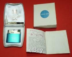 Vtg Pan Am Airlines 1950 Aqua Bleu Maruman Allume Original Unused Box + Case Nos