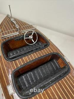 Vtg Speed Boat 18 Modèle En Bois Assemblé Par Des Modèles Authentiques #asa024 Boîte Originale